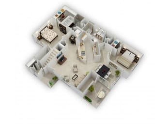 2 Bed 2 Bath Floor Plan at Farmington Lakes Apartments, Oswego, IL, 60543