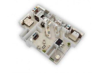 2 Bed 2 Bath Floor Plan at Farmington Lakes Apartments, Illinois