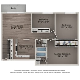 Primrose Three Bedroom Two Bathroom Floor Plan at Willow Crossing, Elk Grove Village, IL