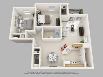 Weston Circle 2 Bedroom 1 Bathroom 3D Floor Plan