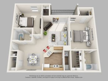 Weston Circle 2 Bedroom 2 Bathroom 3D Floor Plan