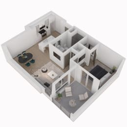 1 Bed 1 Bath Floor Plan at The Q Variel, Woodland Hills