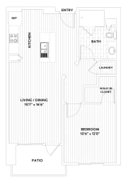A ONE One-Bedroom One-Bath Floor Plan at The Q Variel, Woodland Hills, CA, opens a dialog