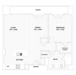A SIX One-Bedroom One-Bath Floor Plan at The Q Variel, California, 91367, opens a dialog