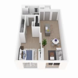 1 Bedroom 1 Bathroom Floor Plan at The Q Variel, Woodland Hills, California