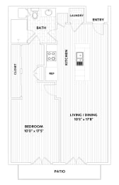 A TWO One-Bedroom One-Bath Floor Plan  at The Q Variel, Woodland Hills, 91367, opens a dialog