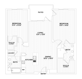 B FOUR Two-Bedroom Two-Bathroom Floor Plan at The Q Variel, Woodland Hills, opens a dialog