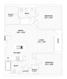 B ONE Two-Bedroom Two-Bath Floor Plan at The Q Variel, Woodland Hills, CA