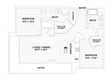 B THREE Two-Bedroom Two-Bathroom Floor Plan at The Q Variel, Woodland Hills, California, opens a dialog
