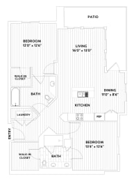 Two-Bedroom Two-Bathroom Floor Plan at The Q Variel, Woodland Hills, 91367, opens a dialog