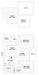 Two-Bedroom, Two-Bath Loft Floor Plan at The Q Variel, Woodland Hills, 91367