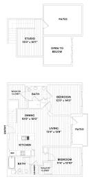 Two-Bedroom, Two-Bath Loft Floor Plan at The Q Variel, Woodland Hills, 91367, opens a dialog