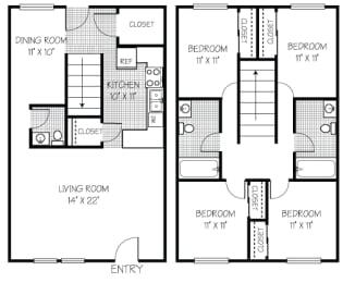 Floor Plan Townhouse, 4 Bedrooms 2.5 Baths