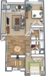 Floor Plan 2 Bed, 2 Bath B3
