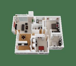 Floor Plan 3 Bed, 2 Bath C2