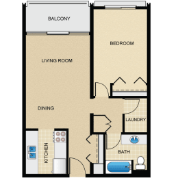 Floor Plan 1 Bedroom, 1 Bath A1