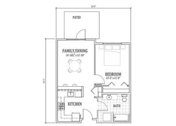 Floor Plan 1 Bed, 1 Bath A1