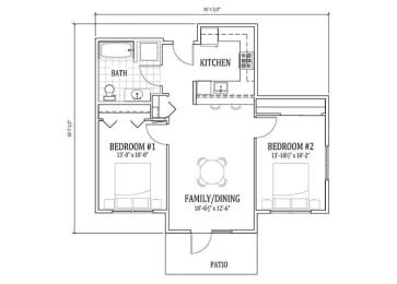 Floor Plan 2 Bed, 1 Bath  B2M
