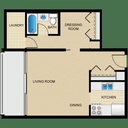 Floor Plan Studio, 1 Bath S1