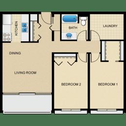 Floor Plan 2 Bedroom, 1 Bath B1