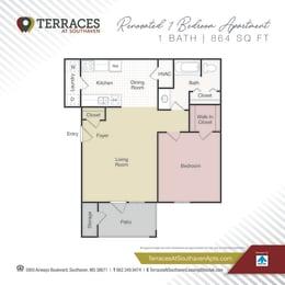 Floor Plan 1-bedroom renovated