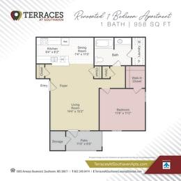 Floor Plan 1 Bedroom  Renovated - 958