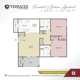 Floor Plan 2 bedroom Renovated-1132