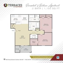Floor Plan 2 bedroom Renovated- 1150