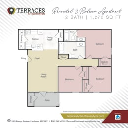 Floor Plan 3 Bedroom - Renovated 1270