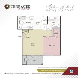 Floor Plan 1 Bedroom - 864