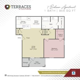 Floor Plan 1 Bedroom - 958