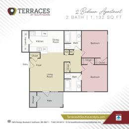Floor Plan 2 Bedroom - 1132