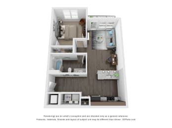 Musk 1 Bed 1 Bath Floor Plan at The Century at Purdue Research Park, West Lafayette, Indiana