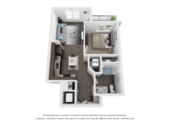 Grissom 1 Bed 1 Bath Floor Plan at The Century at Purdue Research Park, West Lafayette, 47906
