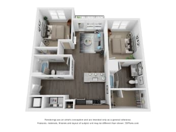 Resnik 2 bed 2 Bath Floor Plan at The Century at Purdue Research Park, West Lafayette, IN, 47906