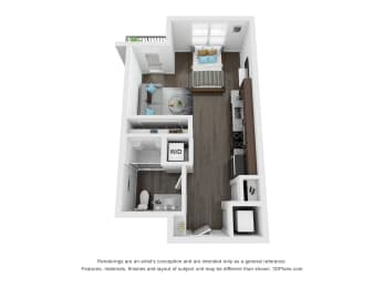 Porco Studio Apartment Floor Plan