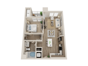 one bedroom floor plan l Alira Apartments in Sacramento Ca