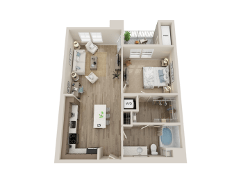 One bedroom floor plan l Alira Apartments for rent in Sacramento Ca