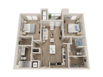 two bedroom floor plan l Alira Apartments in Sacramento Ca