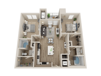 two bedroom floor plan l Sacramento CA Apartment Rentals