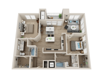 two bedroom floor plan l Alira Apartments for rent in Sacramento Ca