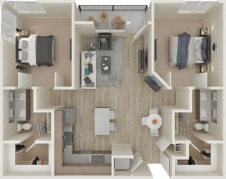 Two bedroom floor plan image at ALLURE AT 2920, Modesto, CA, 95356