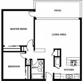2 Bed, 1 Bath, 921 square feet floor plan