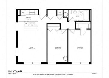 2 Bed - 1 Bath |933 sq ft - Floorplan at Cosmopolitan Apartments