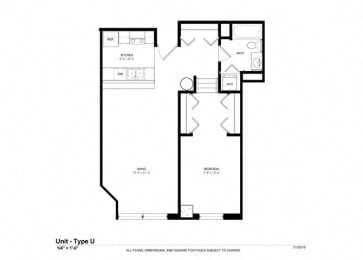 1 Bed - 1 Bath |701 sq ft - Floorplan at Cosmopolitan Apartments