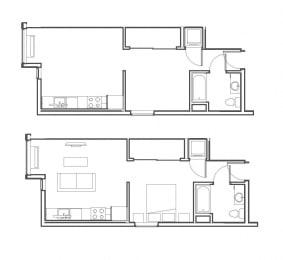 Studio 518 sq ft floorplan