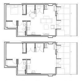 1 Bed - 1 Bath 738 sq ft floorplan