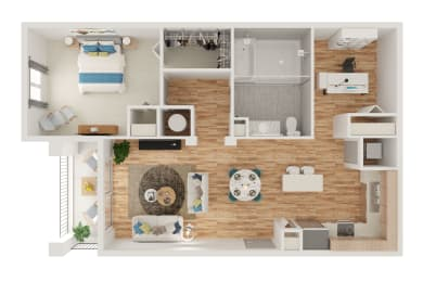 Floor Plan A3 1 bed with Den and Spa Shower