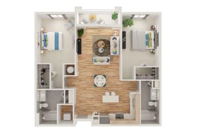 Floor Plan B1 2 Bed 2 Bath Split Roommate Style