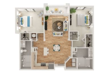 Floor Plan B2 2 Bed 2 Bath with Spa Shower